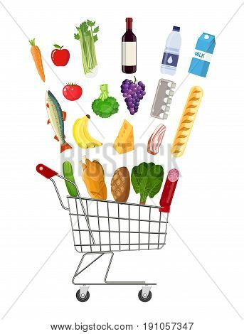Metal shopping cart full of groceries products. Grocery store. Fresh organic food and drinks. Vector illustration in flat style