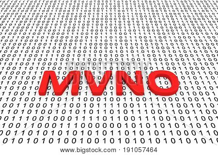 MVNO in the form of binary code, 3D illustration