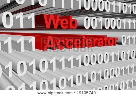 Web accelerator in the form of binary code, 3D illustration