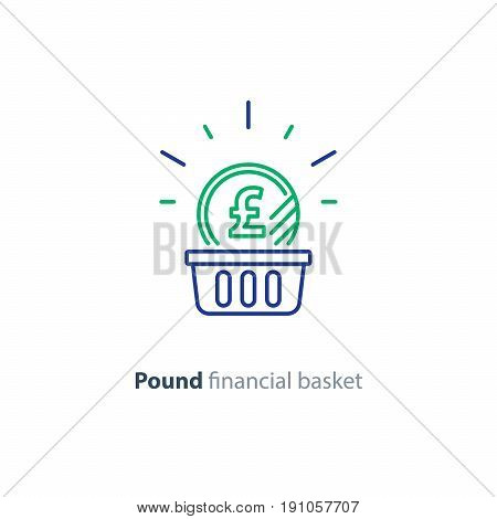 Financial basket, budget planning, fund rising, savings account, pound coin, investment strategy concept, income growth, cash back, vector mono line icon
