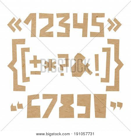 Rough numbers and symbols including brackets, curly braces, exclamation and question marks, quotation marks, ampersand, asterisk, plus, minus, dash or hyphen cut out of paper on cardboard background