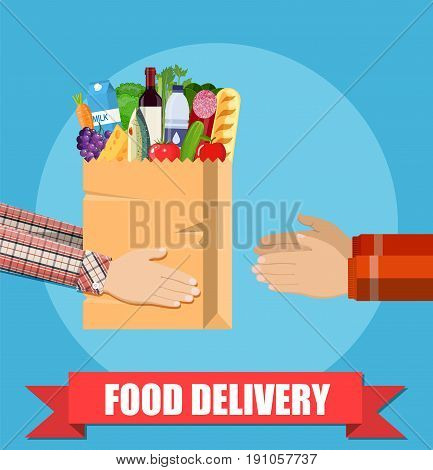 Food delivery. Hands hold paper shopping bag full of groceries products. Courier gives food package to client. Vector illustration in flat style