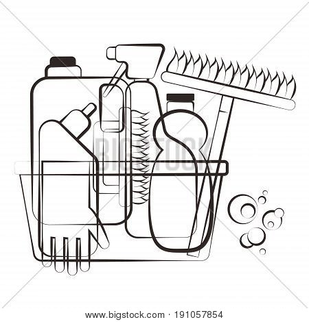 Silhouettes of cleaning agents for vector service