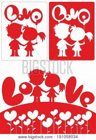Romantic beautiful white and red concept with happy amorous couple of children heart bubbles and balloons vector illustration