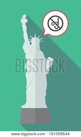 Long Shadow Statue Of Liberty With  A Diving Glasses And A Snorkel  In A Not Allowed Signal