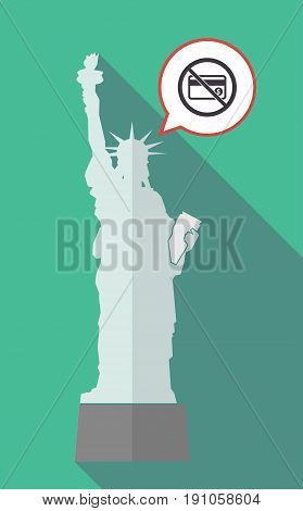 Long Shadow Statue Of Liberty With  A Credit Card  In A Not Allowed Signal