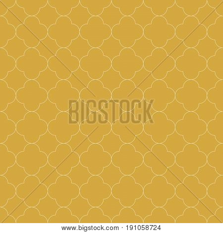 Quatrefoil seamless pattern background in golden color. Vintage and retro abstract ornamental design. Simple flat vector illustration
