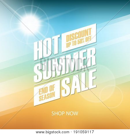 Hot Summer Sale special offer background for business, commerce and advertising. Vector illustration.