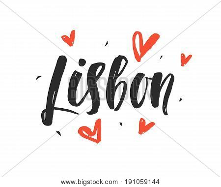Lisbon. Modern city hand written brush lettering, isolated on white background. Ink calligraphy. Capital of Portugal. Tee shirt print, typography card, poster design. Vector illustration.