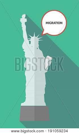 Long Shadow Statue Of Liberty With  The Text Migration