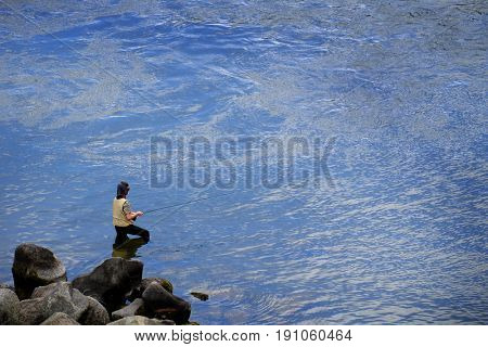 Fishing in River or Pond with Pole and line catching fish
