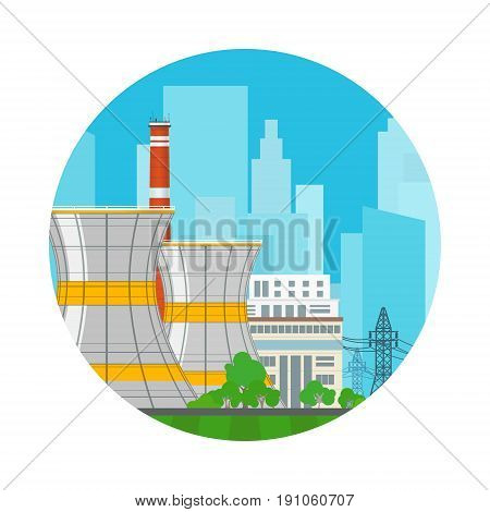 Icon Nuclear Power Plant on the Background of the City , Thermal Station, Electric Power Transmission from a Nuclear Plant, Vector Illustration