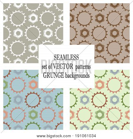 Set Of Vector Seamless Patterns With Mechanism Of Watch. Creative Geometric Grunge Backgrounds With