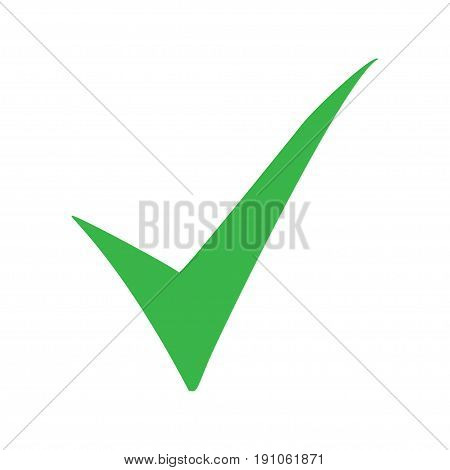Green check mark icon. Tick symbol in green color. Vector illustration