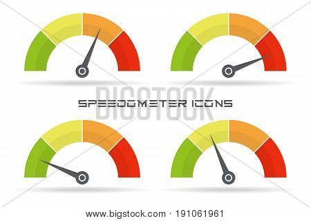 Set of speedometer icon. Colorful infographic gauge element with shadow
