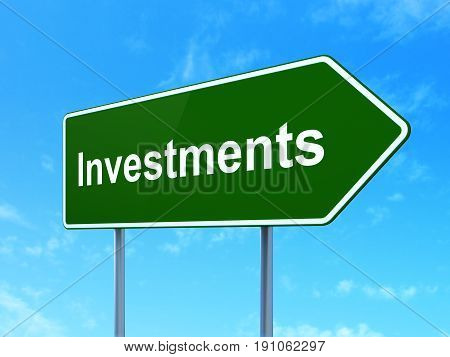 Banking concept: Investments on green road highway sign, clear blue sky background, 3D rendering