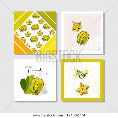 Hand drawn vector abstract freehand textured unusual tropical save the date cards set collection template with palm leaves and carambola tropical fruit in bright colors isolated on white background.