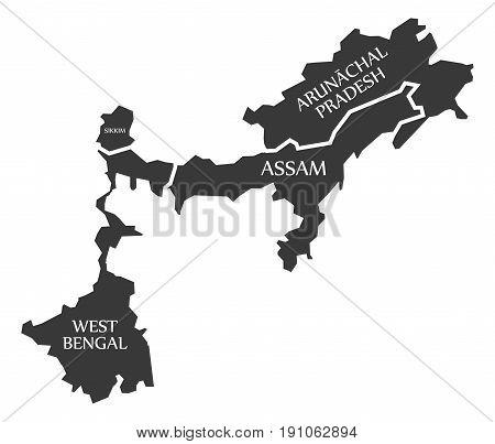 West Bengal - Sikkim - Assam - Arunachal Pradesh Map Illustration Of Indian States