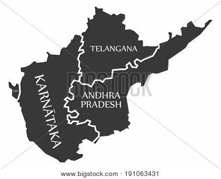 Goa - Karnataka - Telangana - Andhra Pradesh Map Illustration Of Indian States