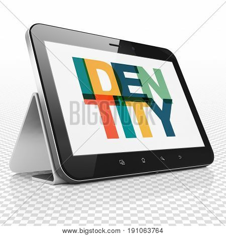 Privacy concept: Tablet Computer with Painted multicolor text Identity on display, 3D rendering