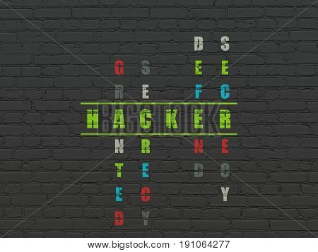 Safety concept: Painted green word Hacker in solving Crossword Puzzle