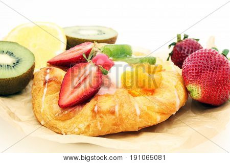 danish pastry with strawberry - a tasty dessert