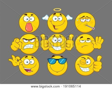 Funny Yellow Cartoon Emoji Face Series Character Set 3. Collection With Gray Background