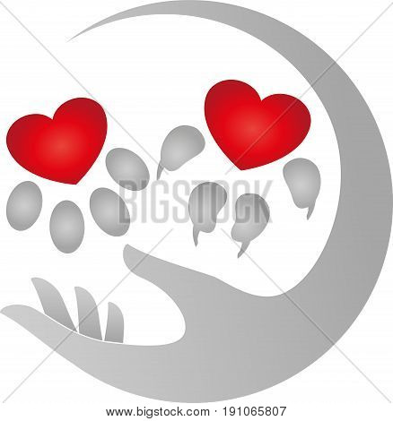 Cat-paw and dog-paw, colored, cats and dog logo