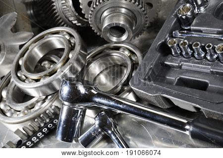 spanners and wrenches with ball-bearings and gears, engineering parts