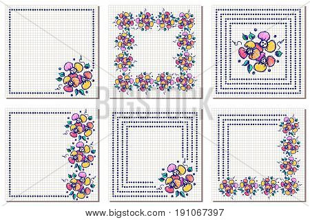 Set of vector floral frame, card, border. Greeting cards. Different template with colorful hand drawn flowers and leaves. Graphic illustration. Vector design. Series of Cards, Blanks and Forms.