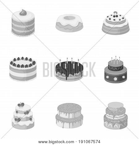 Cakes for the holidays. A set of different sweets. Beautifully decorated cakes and muffins.Cakes icon in set collection on monochrome style vector symbol stock web illustration.