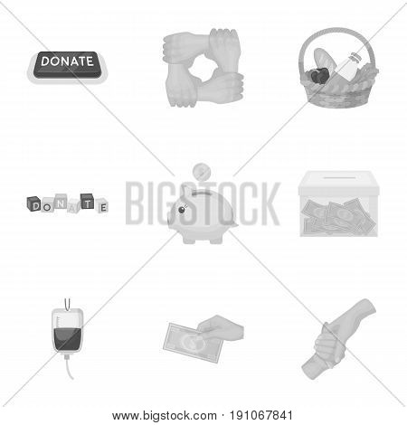 Charitable Foundation. Icons on helping people and donation.Charity and donation icon in set collection on monochrome style vector symbol stock web illustration.