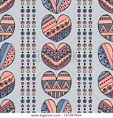 Vector hand drawn seamless pattern, decorative stylized childlike hearts. Doodle style, tribal graphic illustration Cute hand drawing in vintage colors. Series of doodle, cartoon, sketch illustrations poster