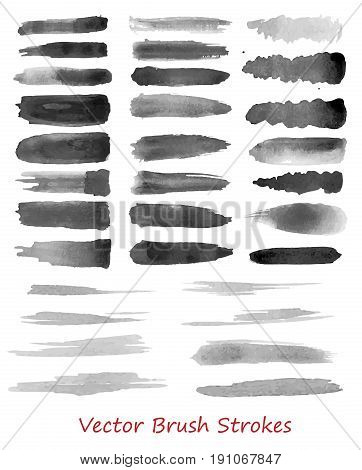Big vector brush strokes set. Hand drawn elements for your design. Grungy textures. Eps10