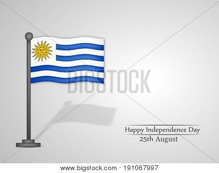 illustration of Uruguay Flag with Happy Independence Day 25th August Text