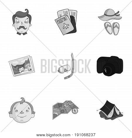 Family, family traditions, recreation. Family life. Family holiday icon in set collection on monochrome style vector symbol stock web illustration.