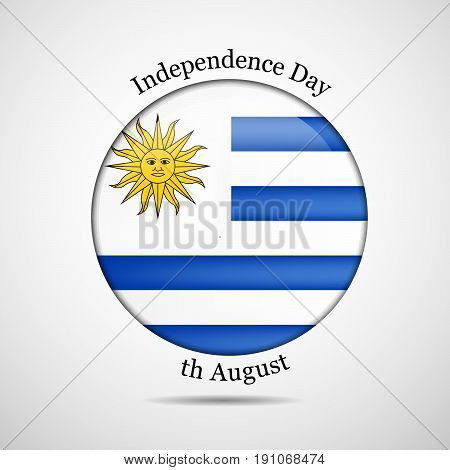 illustration of button in Uruguay Flag background on the occasion of Uruguay Independence day
