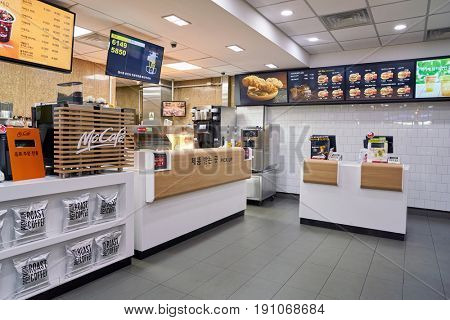 SEOUL, SOUTH KOREA - CIRCA MAY, 2017: inside a McDonald's restaurant. McDonald's is an American hamburger and fast food restaurant chain.