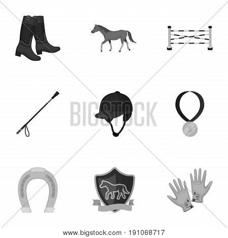 Races on horseback, hippodrome. Horse racing and equipping riders.Hippodrome and horse icon in set collection on monochrome style vector symbol stock web illustration.