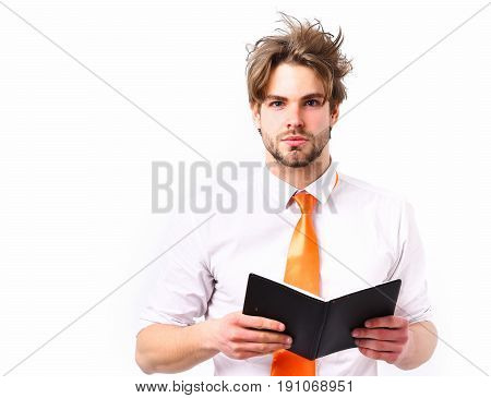 Bearded man short beard. Caucasian serious macho with moustache have acid orange tie on white shirt holding black notebook isolated on white studio background business and working concept