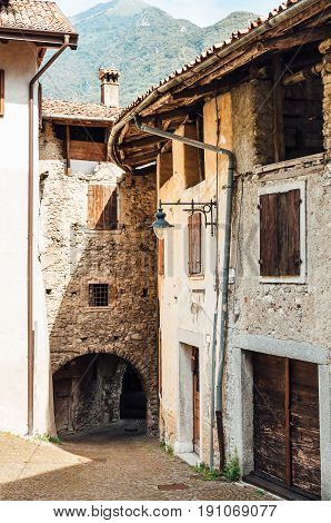 Medieval stone houses in the village of Pranzo, Province of Trento, Italy.