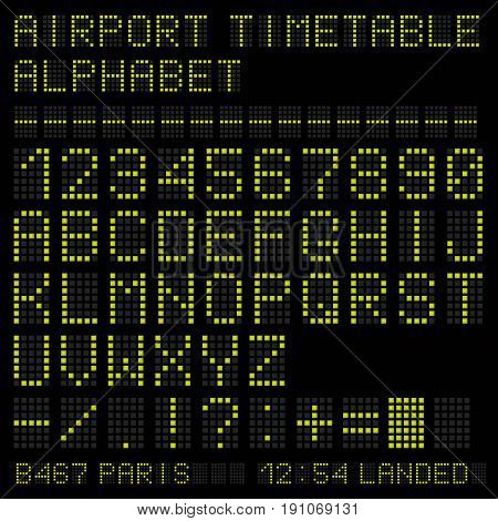 Airport vector timetable green alphabet. Letters and numbers.
