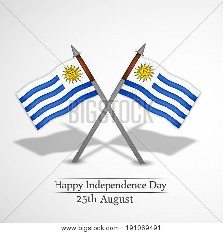 illustration of Uruguay Flags with Happy Independence Day 25th August Text