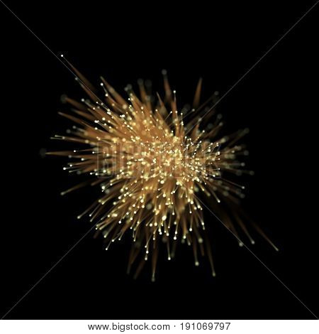 Abstract gold optical fiber glitter light effect on black background. Golden futuristic neon lines with glittering particle star dust.