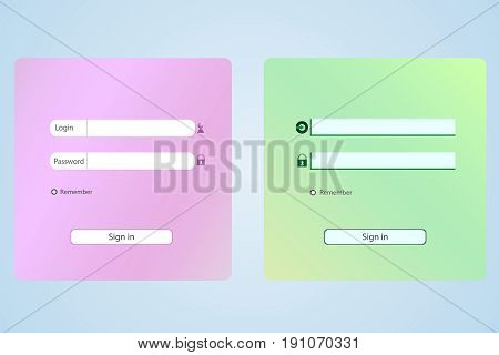 Login form. Web site vector illustration set