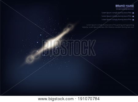 Vector illustration of dark blue banner with glowing light effect and lens flares. An excellent advertising poster for holiday discounts and sales