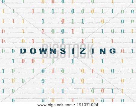 Business concept: Painted blue text Downsizing on White Brick wall background with Binary Code