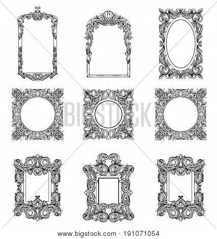 Rich Imperial Baroque Rococo frames set. French Luxury carved ornaments. Vector Victorian exquisite Style decorated