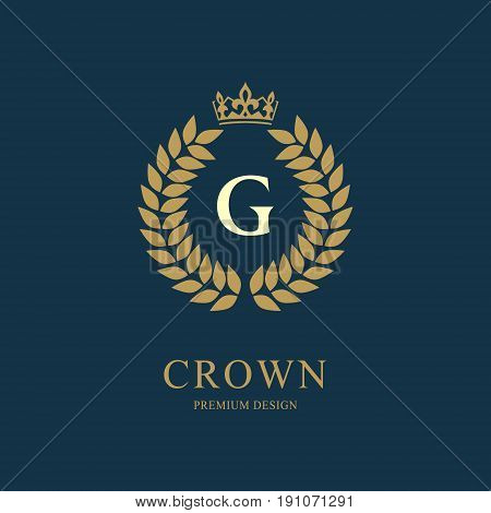 Wreath Monogram luxury design graceful template. Floral elegant beautiful round logo with crown. Letter emblem sign G for Royalty Restaurant Boutique Hotel Heraldic Jewelry. Vector illustration