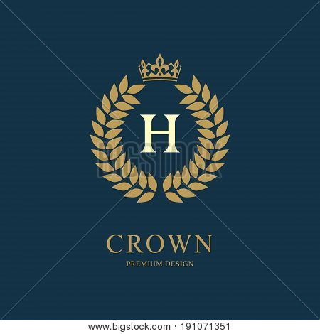 Wreath Monogram luxury design graceful template. Floral elegant beautiful round logo with crown. Letter emblem sign H for Royalty Restaurant Boutique Hotel Heraldic Jewelry. Vector illustration